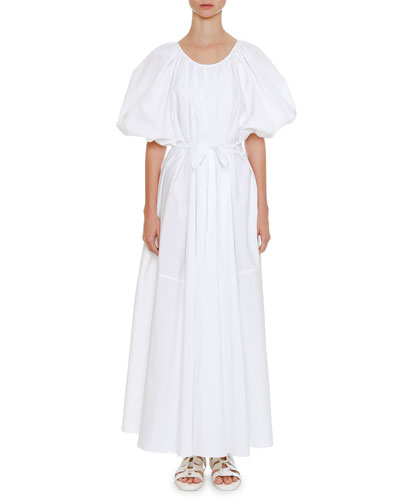 Scoop-Neck Puff-Sleeve Belted Full-Skirt Cotton Dress