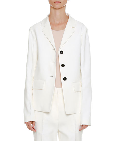 Notched-Collar Button-Front Cotton-Twill Blazer