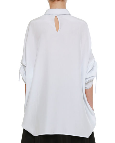 Spread-Collar Drawstring-Sleeves Button-Front Silk Blouse