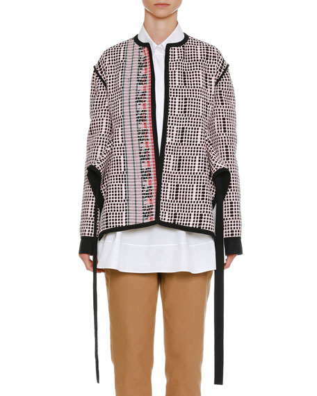 One-Button Textured-Knit Side-Slit Jacket with Ribbon Trim