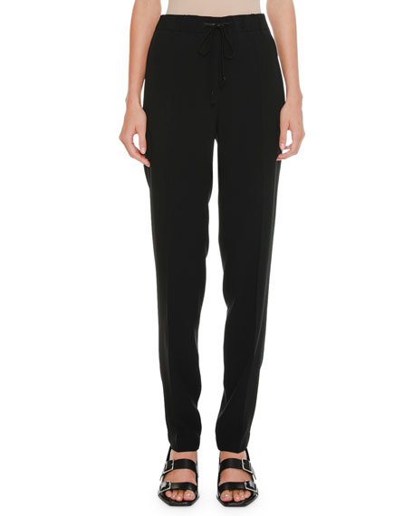 Jil Sander Drawstring High-Waist Straight-Leg Pants