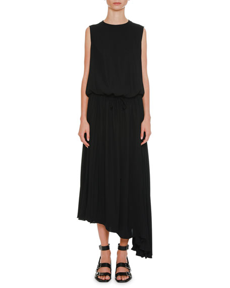 Jil Sander Round-Neck Blouson-Top Drawstring-Waist Crepe Dress