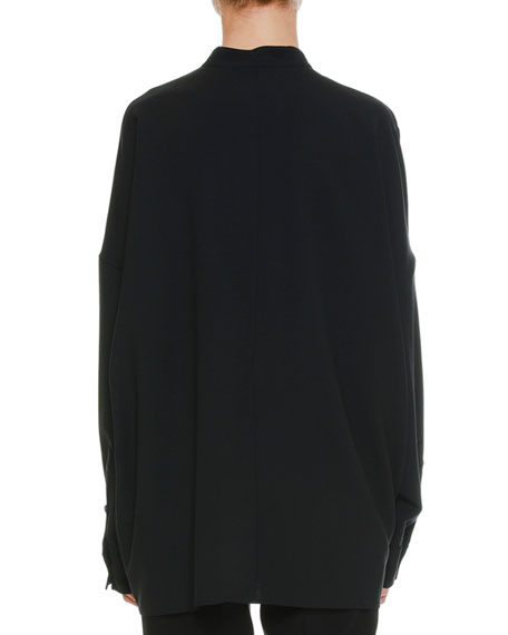 Long-Sleeve Button-Front Oversized Shirt with Detachable Paillette Bib