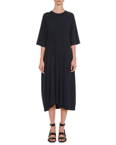 Round-Neck 3/4-Sleeve Cotton Midi Dress with Side Pintucking