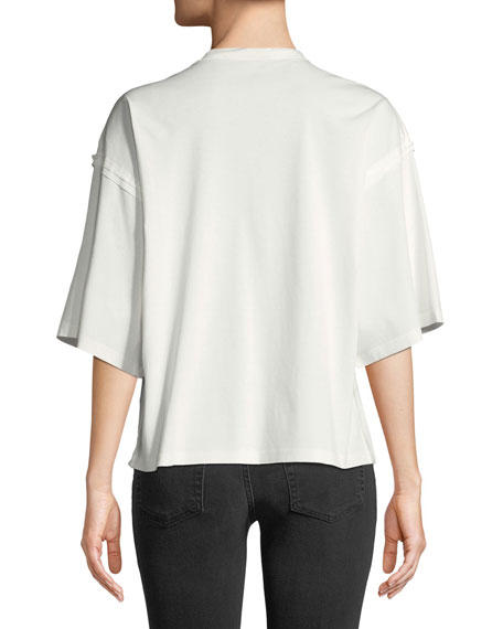 Crewneck Half-Sleeves T-Shirt with Detachable Paillette Bib