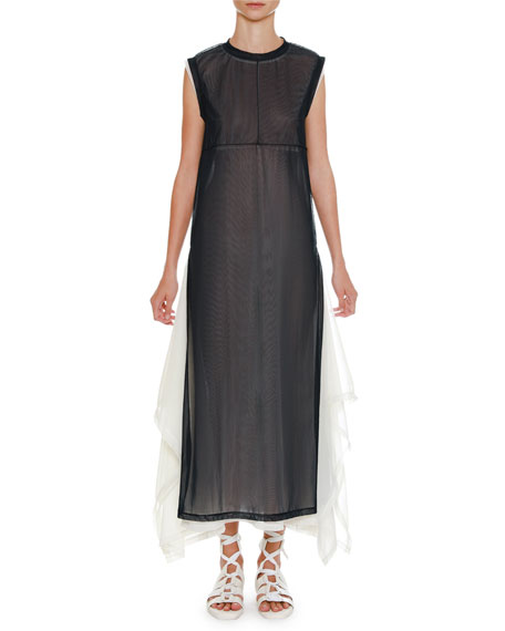 Crewneck Sleeveless Two-Tone Layered Sheer Tulle Midi Dress