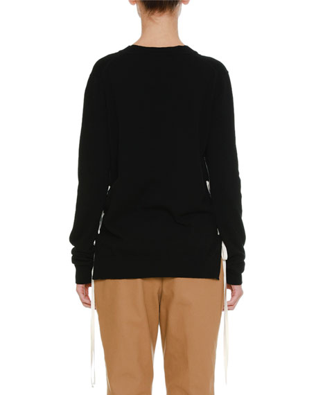 Lacing-Sides V-Neck Cashmere Knit Sweater