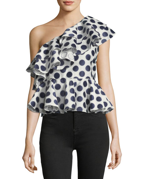 One-Shoulder Polka-Dot Asymmetric Frill Peplum Top