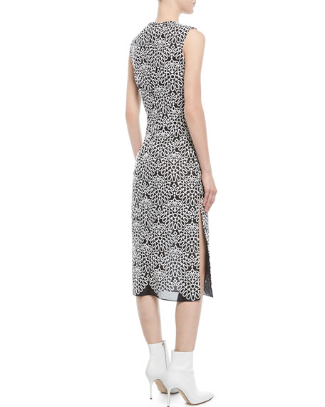 Round-Neck Sleeveless Embroidered-Knit Sheath Midi Dress
