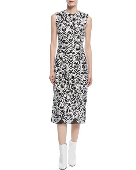 Round-Neck Sleeveless Embroidered-Knit Sheath Midi Dress