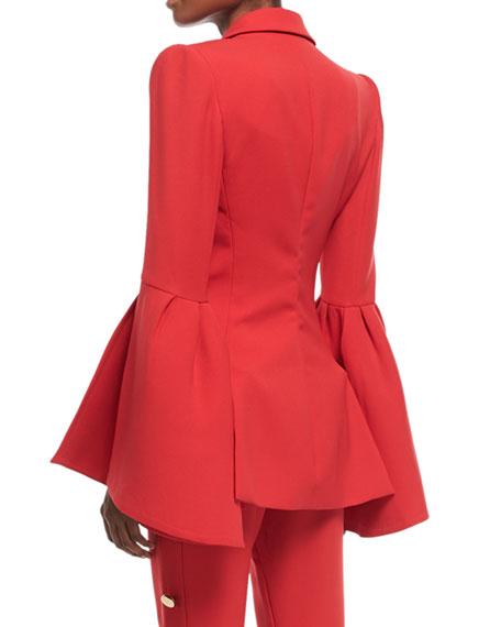 Peak-Lapels Bell-Sleeve One-Button Crepe Blazer
