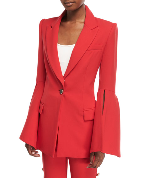 Prabal Gurung Peak-Lapels Bell-Sleeve One-Button Crepe Blazer