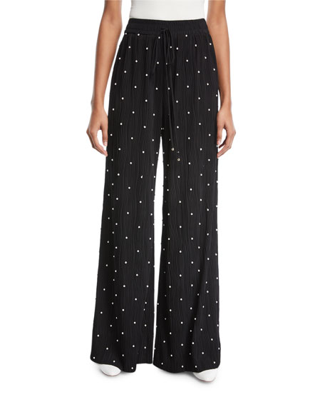 Elastic-Waist Beaded Wide-Leg Plisse Pants