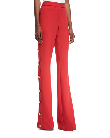 High-Waist Flared-Leg Crepe Pants with Side-Button Detail