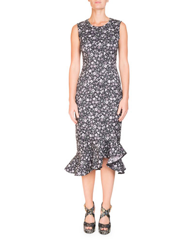 Louisa Floral-Print Sleeveless Fitted Midi Dress with Flounce Hem
