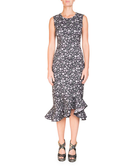 Erdem Louisa Floral-Print Sleeveless Fitted Midi Dress with