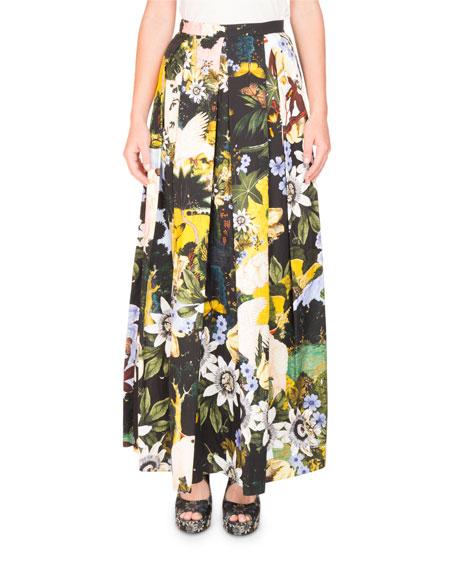 Elena Garden-Print Full A-Line Ankle-Length Skirt
