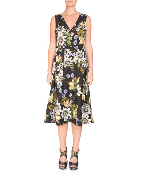 V-Neck Sleeveless Belted Floral Matelassé Midi Dress