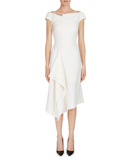 Barwick Cap-Sleeve Cascade-Front Dress