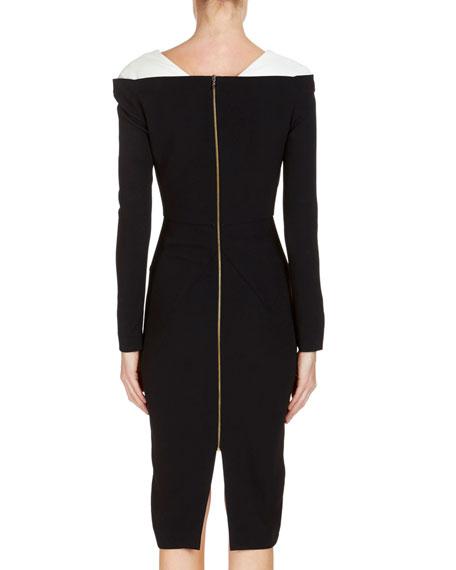 Accrington Long-Sleeve Contrast-Shoulder Dress