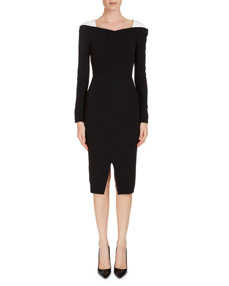 Roland Mouret Accrington Long-Sleeve Contrast-Shoulder Dress