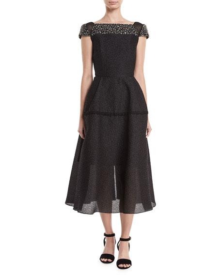 Roland Mouret Hadleigh Beaded Full-Skirt Dress