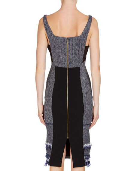 Riseley Sleeveless Tweed Dress with Mesh Insets