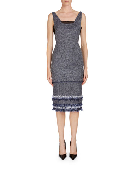Roland Mouret Riseley Sleeveless Tweed Dress W/ Mesh