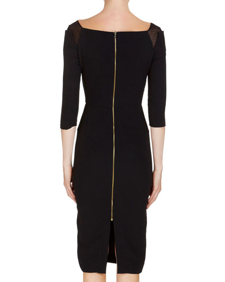 Newark 3/4-Sleeve Fil Coupe Sheath Dress