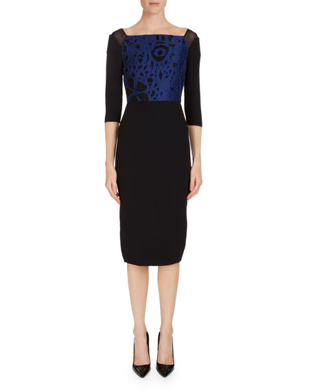 Roland Mouret Newark 3/4-Sleeve Fil Coupe Sheath Dress