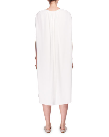 Dada Round-Neck Cape Shift Midi Dress