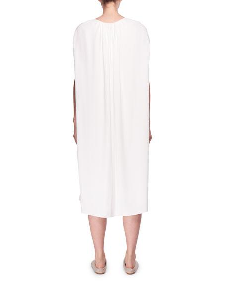 Dada Round-Neck Cape Shift Midi Dress