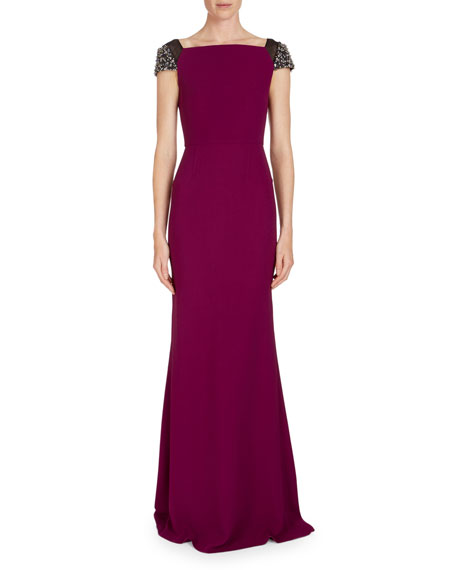 Hepworth Off-the-Shoulder Fluted Gown