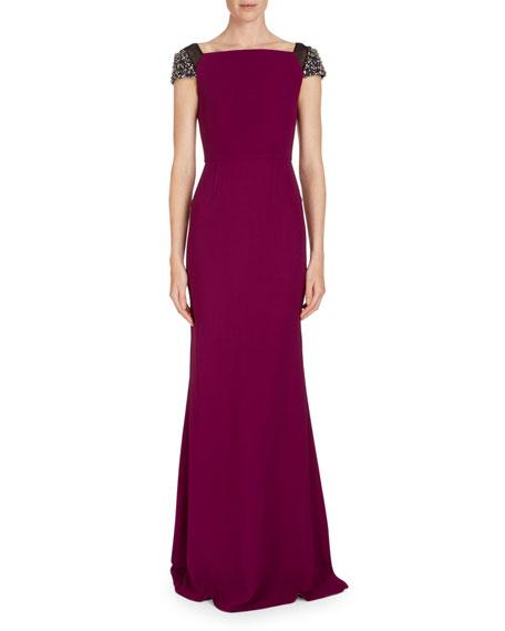 Hepworth Off-the-Shoulder Fluted Gown