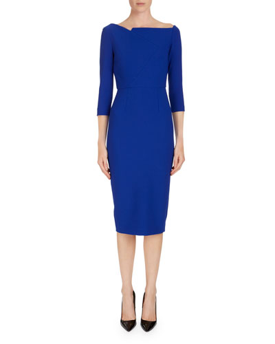 3/4-Sleeve Wide-Neck Sheath Dress