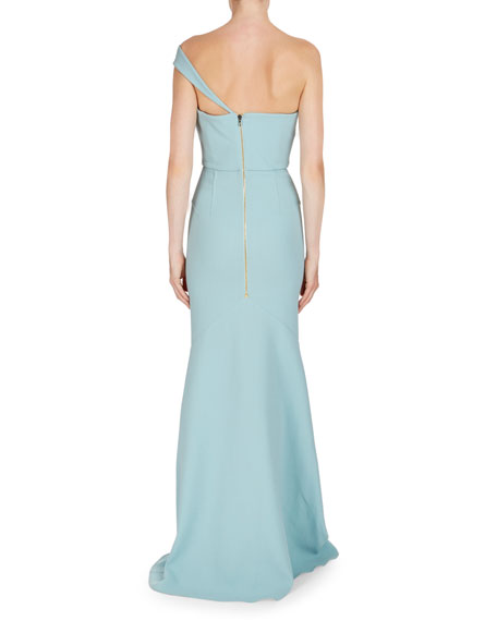 Lockton One-Shoulder Wool Gown