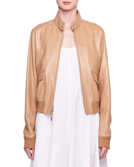 Erhly Zip-Front Leather Bomber Jacket
