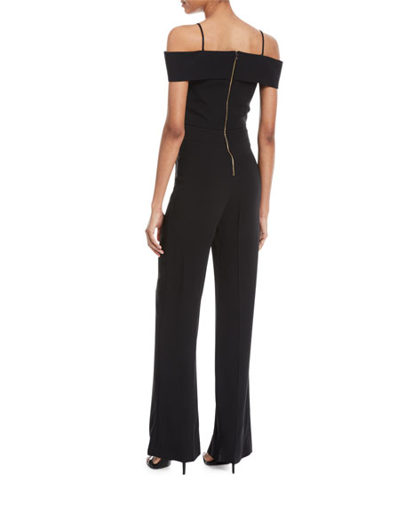 Off-the-Shoulder Wide-Leg Jumpsuit with Rope Strap