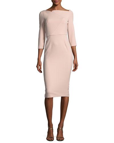 Boat-Neck 3/4-Sleeve Sheath Dress