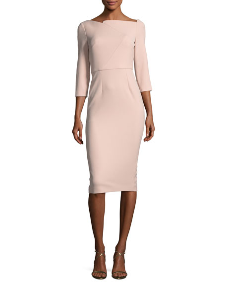 Boat-Neck 3/4-Sleeve Sheath Dress