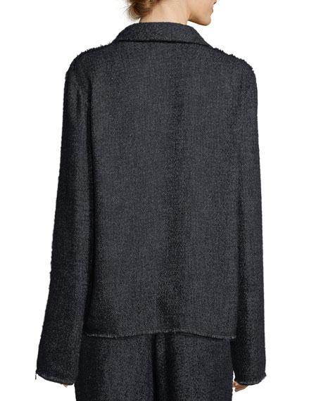 Connie Open-Front Tweed Jacket with Necktie