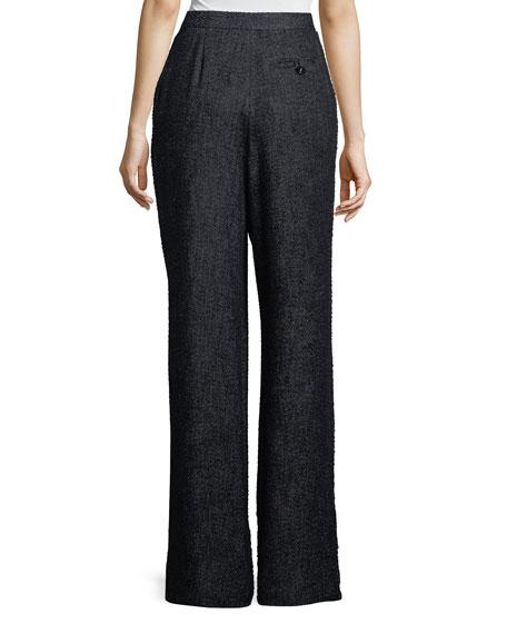 Hester High-Waist Wide-Leg Tweed Pants