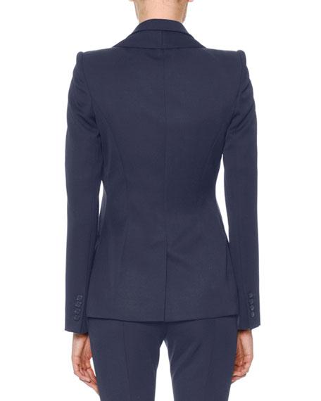 Double-Collar Single-Breasted Grain de Poudre Classic Jacket