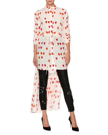 Alexander McQueen Petal-Print Drawstring High-Low Silk Blouse