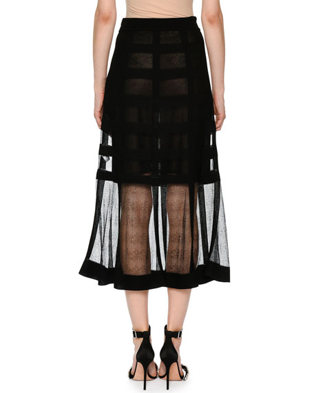 Sheer-Grid Mesh Tea-Length Pull-On Skirt