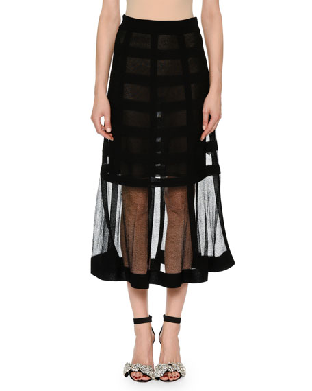 Sheer-Grid Mesh Tea-Length Pull-On Skirt in Black