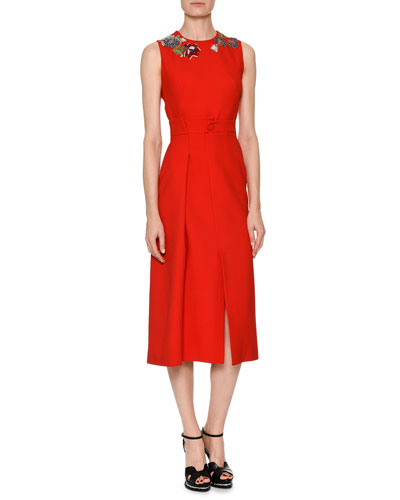 Sleeveless Wool-Silk Midi Sheath Cocktail Dress with Jeweled Embellishment