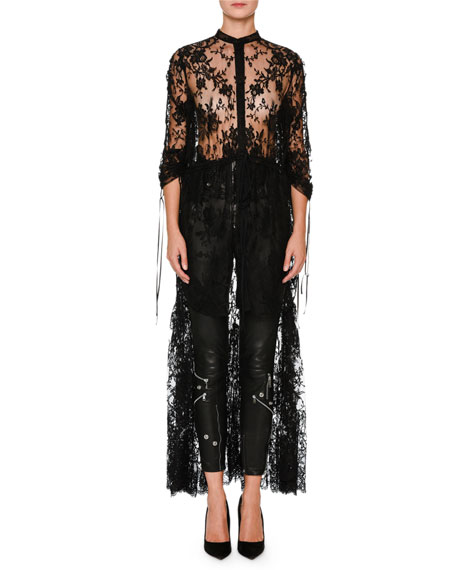 Sheer High-Low Drawstring Sarabande Lace Top