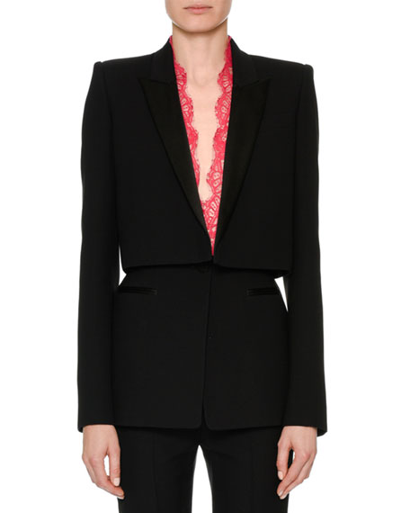Alexander McQueen Long-Sleeve Wool-Silk Cocktail Jacket with Lace