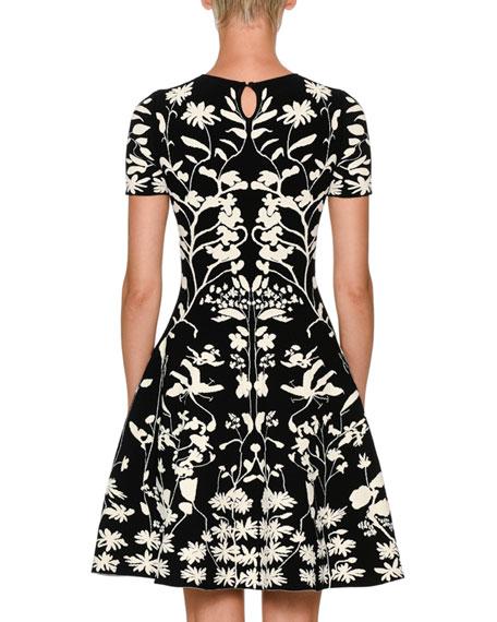 Short-Sleeve Fit-and-Flare Botanical Jacquard Cocktail Dress